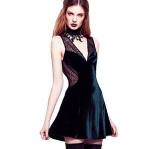 For Love And Lemons Velvet and Lace Skater Dress